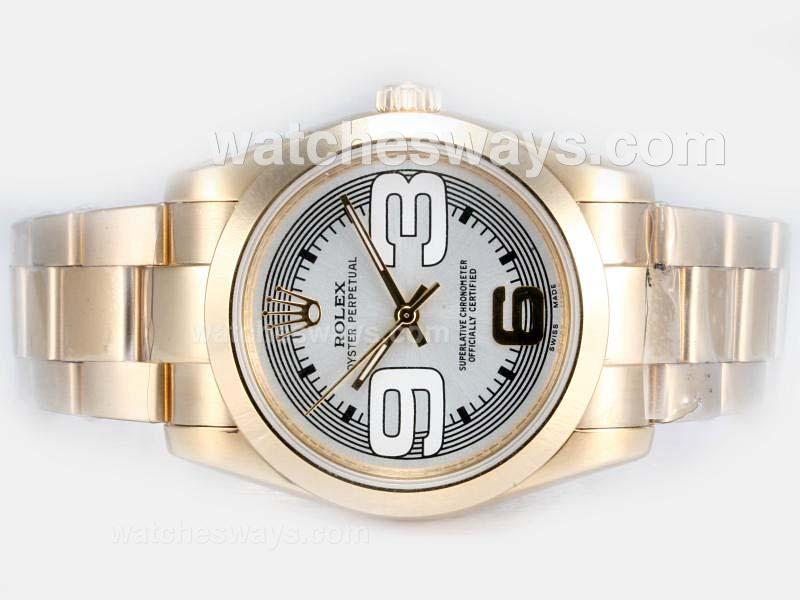 Repliki Rolex Air-King Oyster Perpetual Automatic Full Gold with White Dial New Version 17826