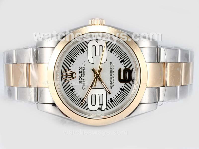 Repliki Rolex Air-King Oyster Perpetual Automatic Two Tone-New Version 17469
