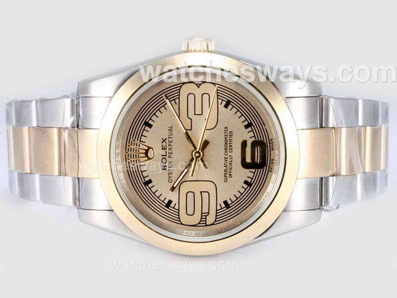 Repliki Rolex Air-King Oyster Perpetual Automatic Two Tone with Beige Dial New Version 17467