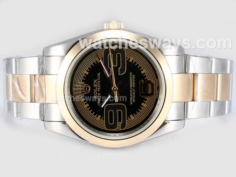 Repliki Rolex Air-King Oyster Perpetual Automatic Two Tone with Black Dial New Version 17466