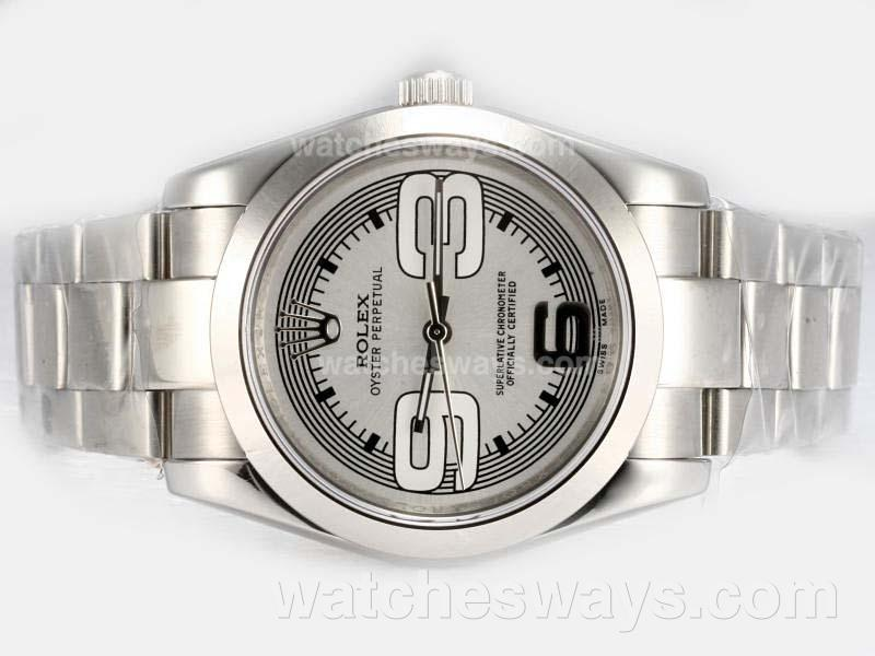 Repliki Rolex Air-King Oyster Perpetual Automatic with Silver Dial New Version 16420