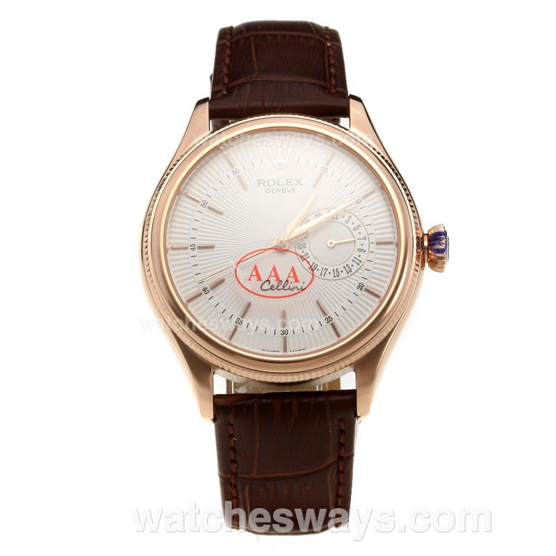 Repliki Rolex Cellini Automatic Rose Gold Case with White Dial-Leather Strap-1 218870