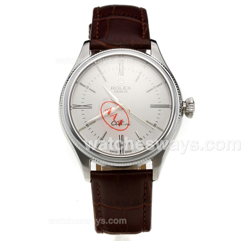 Repliki Rolex Cellini Automatic with White Dial-Leather Strap-5 218866