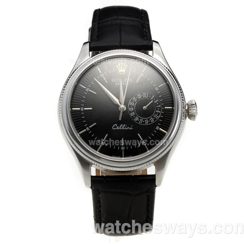 Repliki Rolex Cellini Automatic with Black Dial-Leather Strap-2 218864