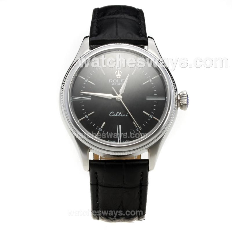 Repliki Rolex Cellini Automatic with Black Dial-Leather Strap-3 218862