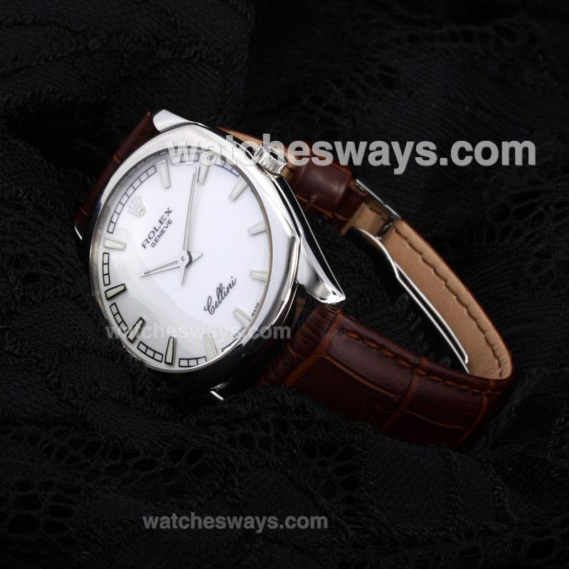 Repliki Rolex Cellini Luminous Swiss ETA Movement with White Dial Leather Strap-Sapphire Glass(Gift Box is Included) 194534