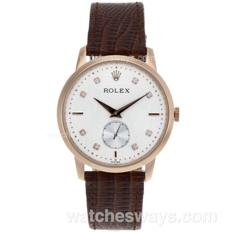 Repliki Rolex Cellini Automatic Rose Gold Case Diamond Markers with White Dial Leather Strap 52013