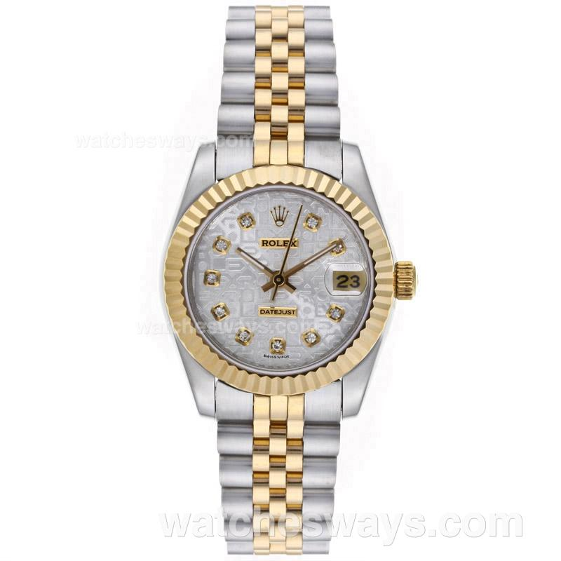 Repliki Rolex Datejust Automatic Two Tone Diamond Markers with Computer Dial Mid Size 64227