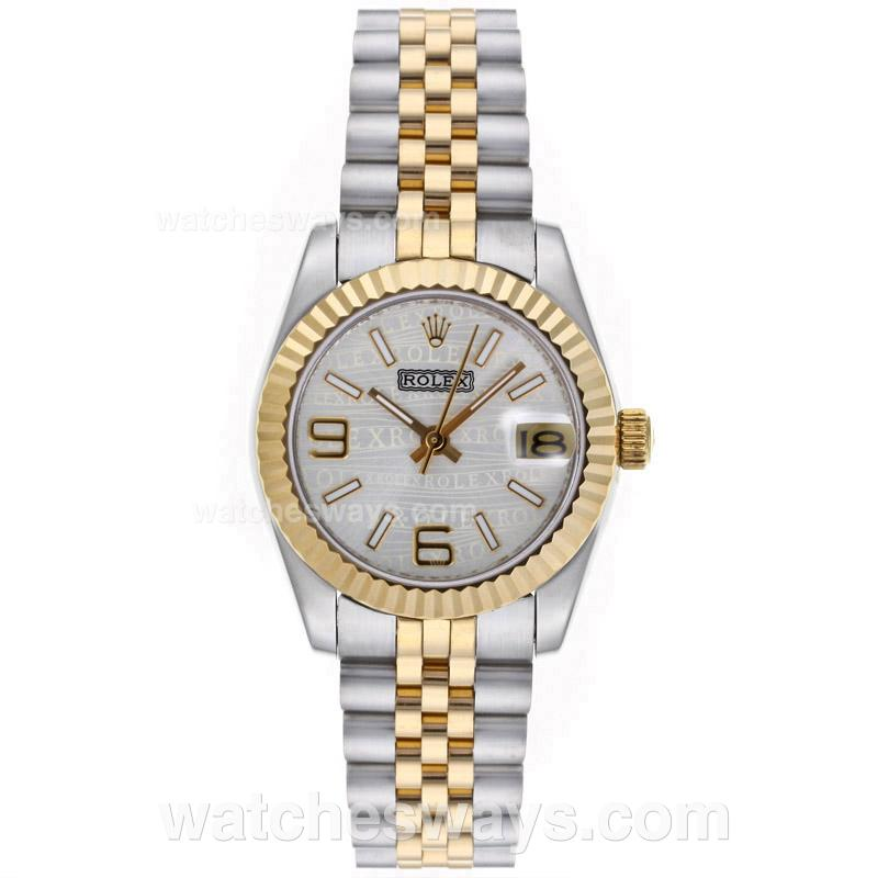 Repliki Rolex Datejust Automatic Two Tone with Silver Watermark Dial Mid Size 64226