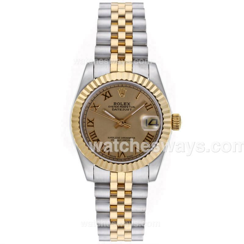 Repliki Rolex Datejust Automatic Two Tone Roman Markers with Golden Dial Mid Size-1 64225
