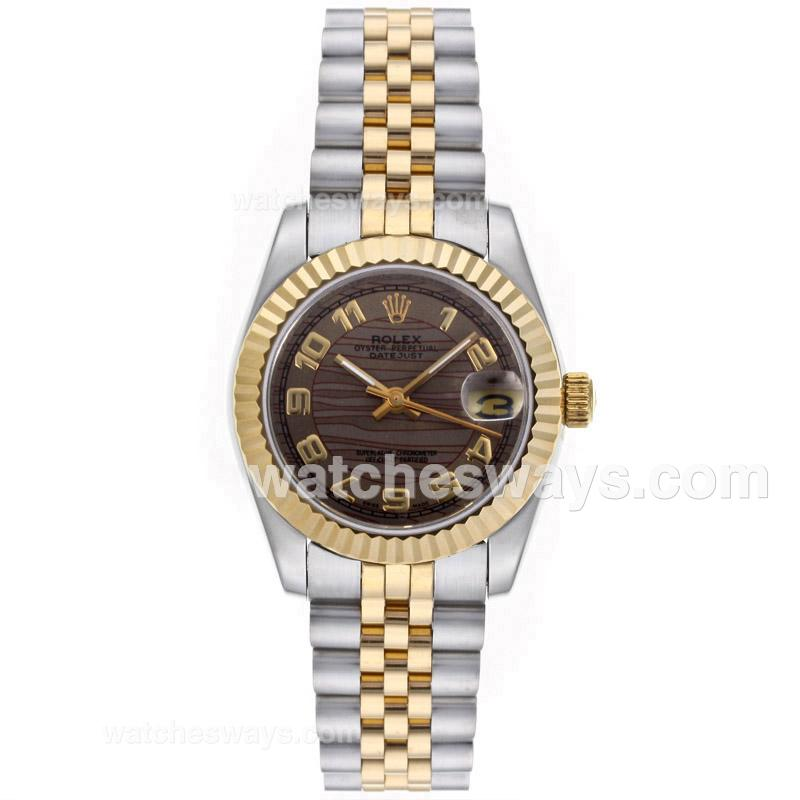 Repliki Rolex Datejust Automatic Two Tone Number Markers with Brown Wave Dial Mid Size 64224