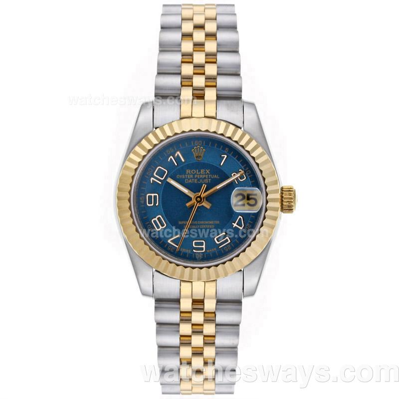 Repliki Rolex Datejust Automatic Two Tone Roman Markers with Blue Dial Mid Size 64222