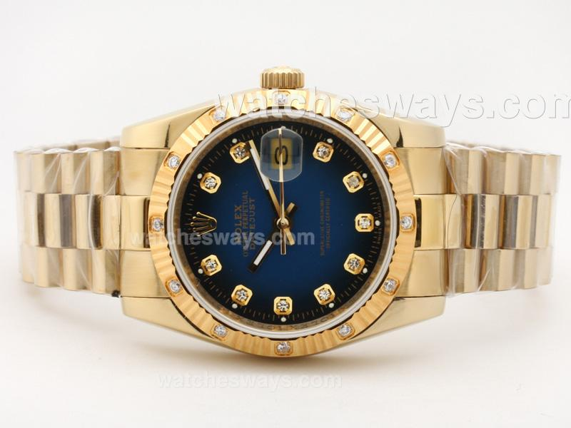 Repliki Rolex Datejust Automatic Full Gold Diamond Marking with Blue Dial 2 23382