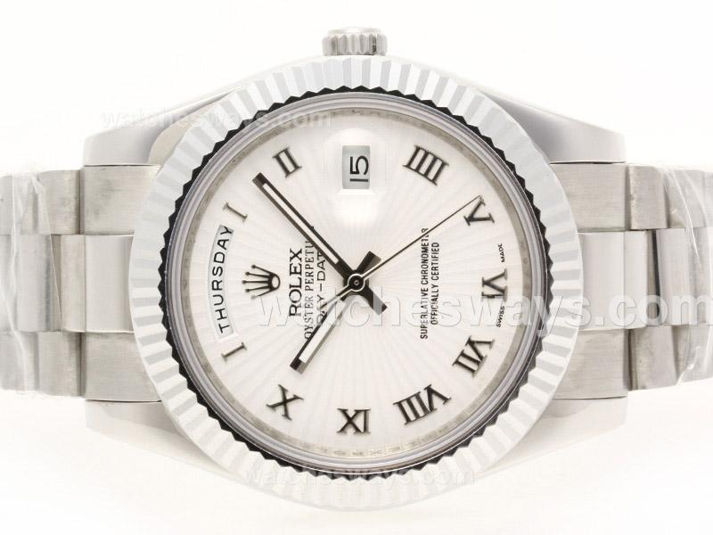 Repliki Rolex Day-Date II Automatic Roman Marking with White Dial 41mm Version 38305
