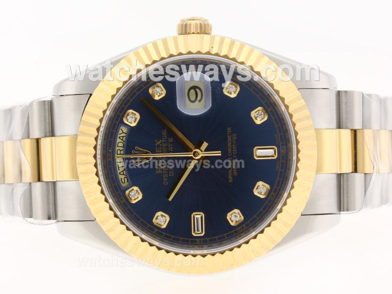 Repliki Rolex Day-Date II Swiss ETA 2836 Movement Two Tone Diamond Markers with Blue Dial 41mm Version 37410