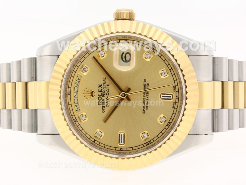 Repliki Rolex Day-Date II Swiss ETA 2836 Movement Two Tone Diamond Markers with Golden Dial 41mm Version 37409