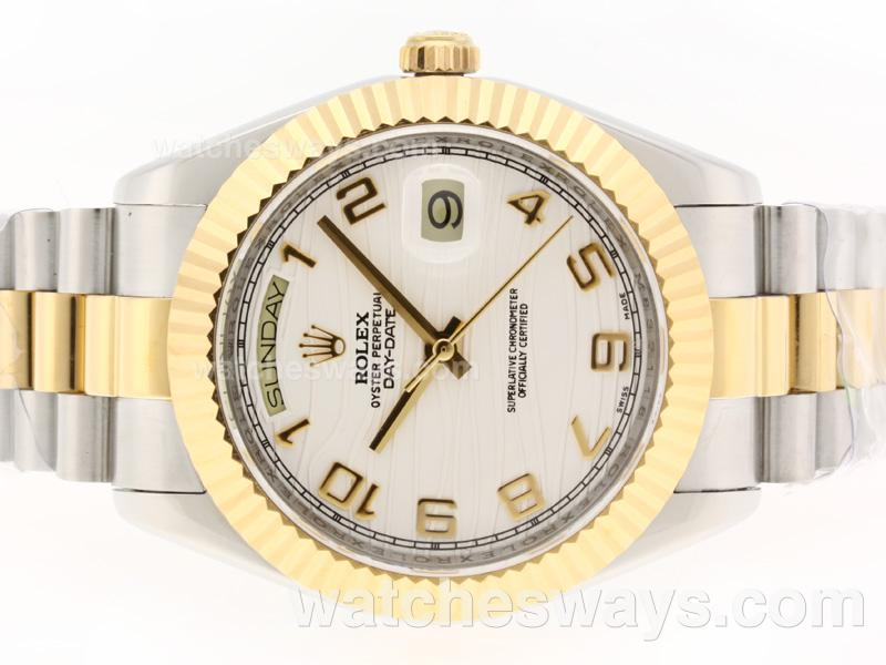 Repliki Rolex Day-Date II Swiss ETA 2836 Movement Two Tone Number Markers with White Wave Dial 37408