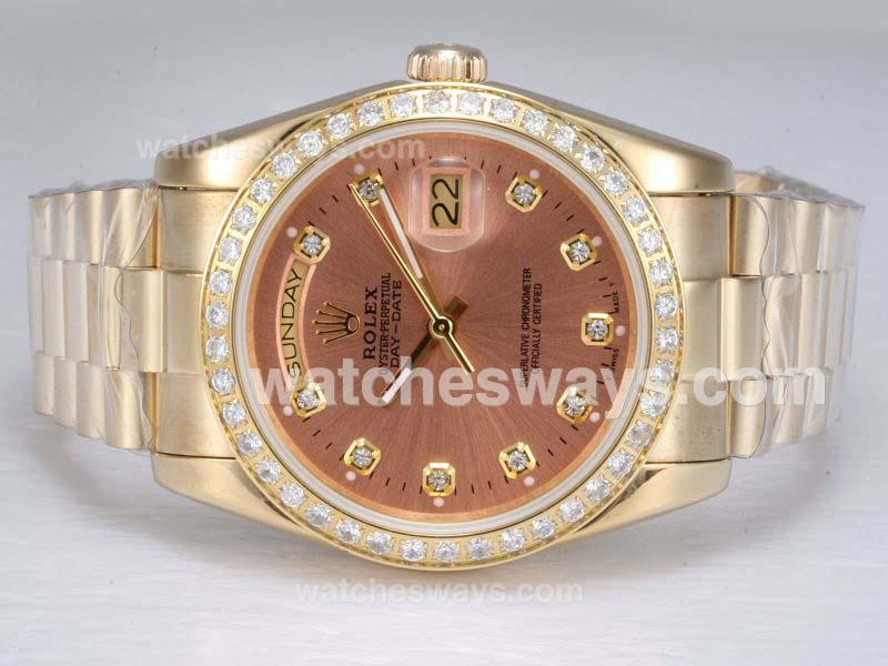 Repliki Rolex Day-Date Automatic Full Gold with Diamond Bezel and Marking-Champagne Dial 11771