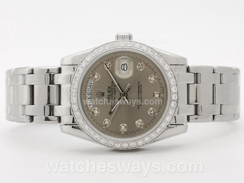 Repliki Rolex Masterpiece Automatic Diamond Bezel and Marking with Gray Dial 31086
