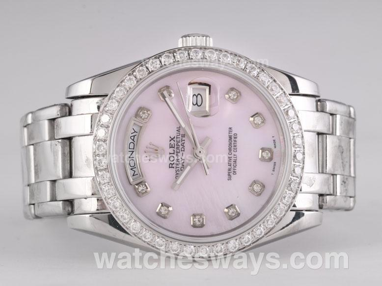 Repliki Rolex Masterpiece Automatic Diamond Marking and Bezel with Pink Dial 25782