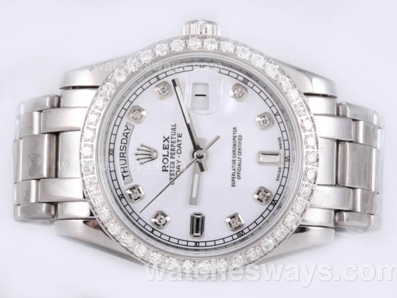 Repliki Rolex Masterpiece Automatic Diamond Marking and Bezel with White Dial 23132
