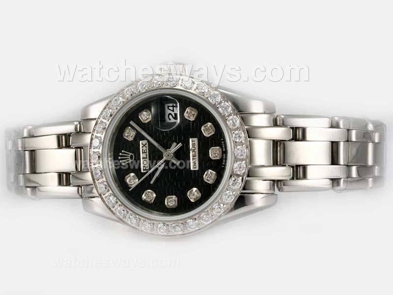 Repliki Rolex Masterpiece Automatic Diamond Bezel and Marking with Black Computer Dial 1 20198
