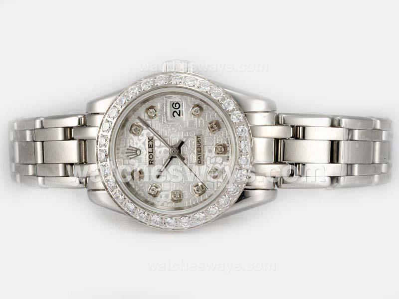 Repliki Rolex Masterpiece Automatic Diamond Bezel and Marking with Silver Computer Dial 1 20197