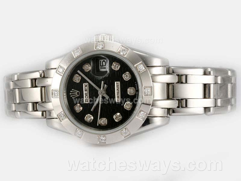 Repliki Rolex Masterpiece Automatic Diamond Marking with Black Computer Dial 1 20193