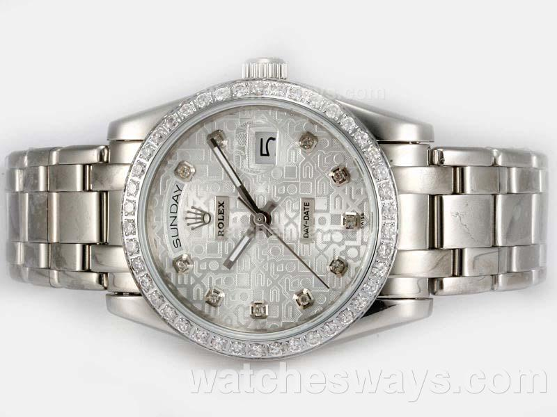 Repliki Rolex Masterpiece Automatic Diamond Bezel and Marking with Silver Computer Dial 20200