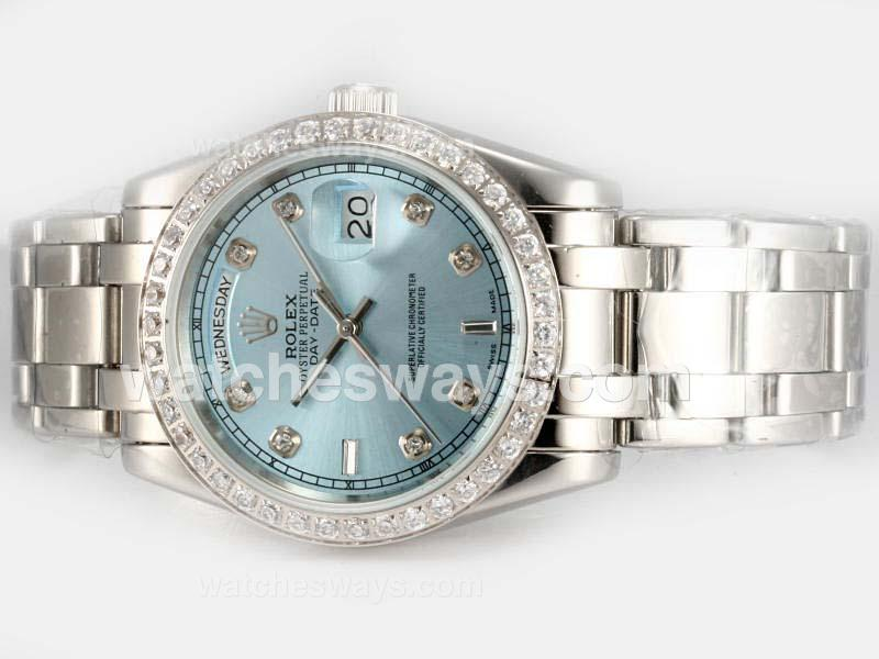 Repliki Rolex Masterpiece Automatic Diamond Bezel and Marking with Blue Dial 18616
