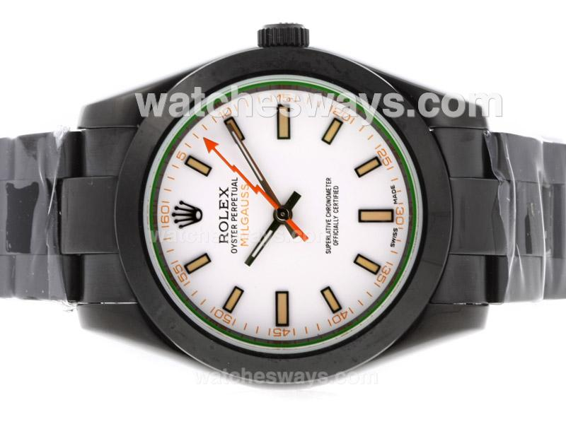replik rolex milgauss uhr automatik voll pvd mit wei em. Black Bedroom Furniture Sets. Home Design Ideas