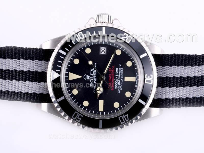 Repliki Rolex Sea Dweller Submariner 2000 Ref.1665 Automatic with Black Dial and Bezel-Nylon Strap Vintage Edition 23284