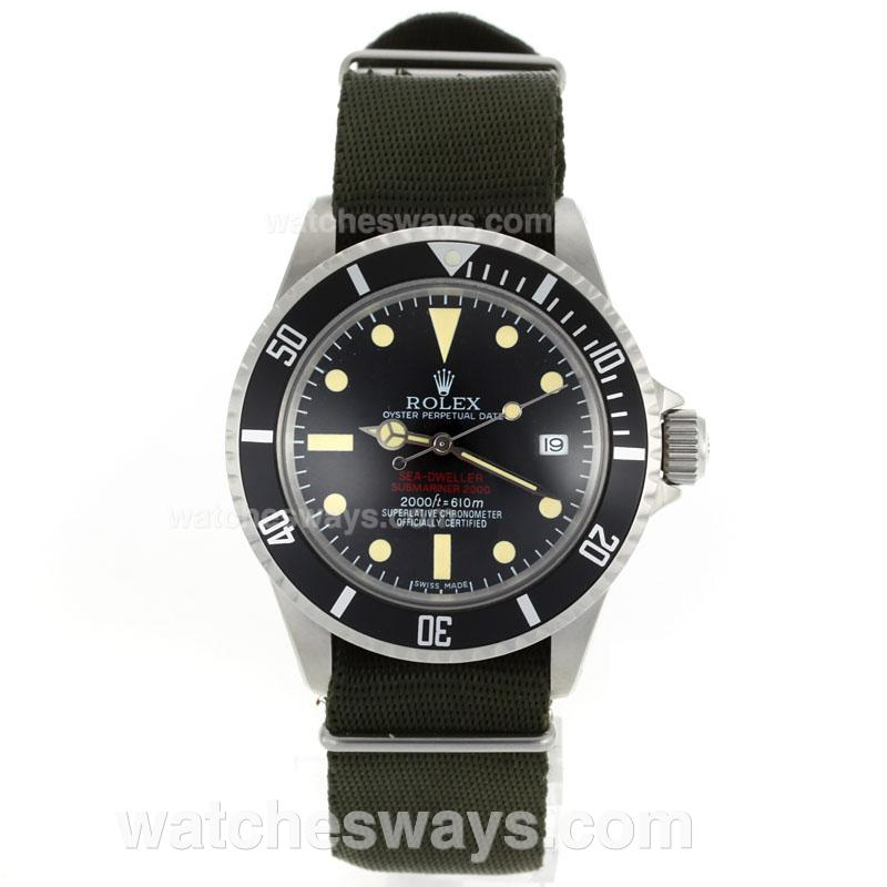 Repliki Rolex Sea Dweller Submariner 2000 Ref.1665 Vintage Edition-Green Nylon Strap 23282