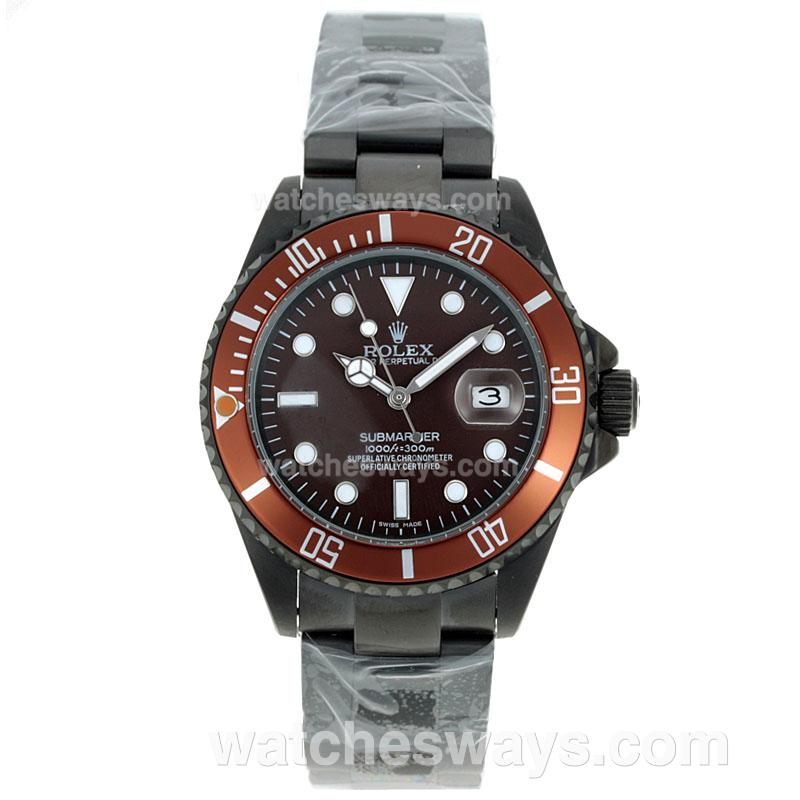 replik rolex submariner uhr automatik voll pvd mit braunem. Black Bedroom Furniture Sets. Home Design Ideas