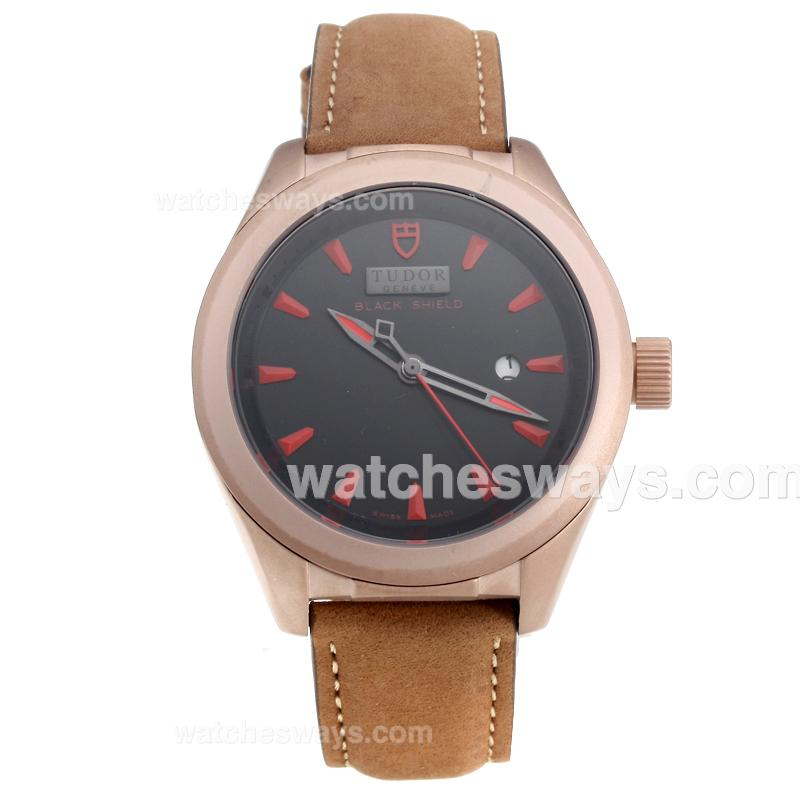 Repliki Tudor Black Shield Rose Gold Case with Black Dial-Leather Strap-3 220516