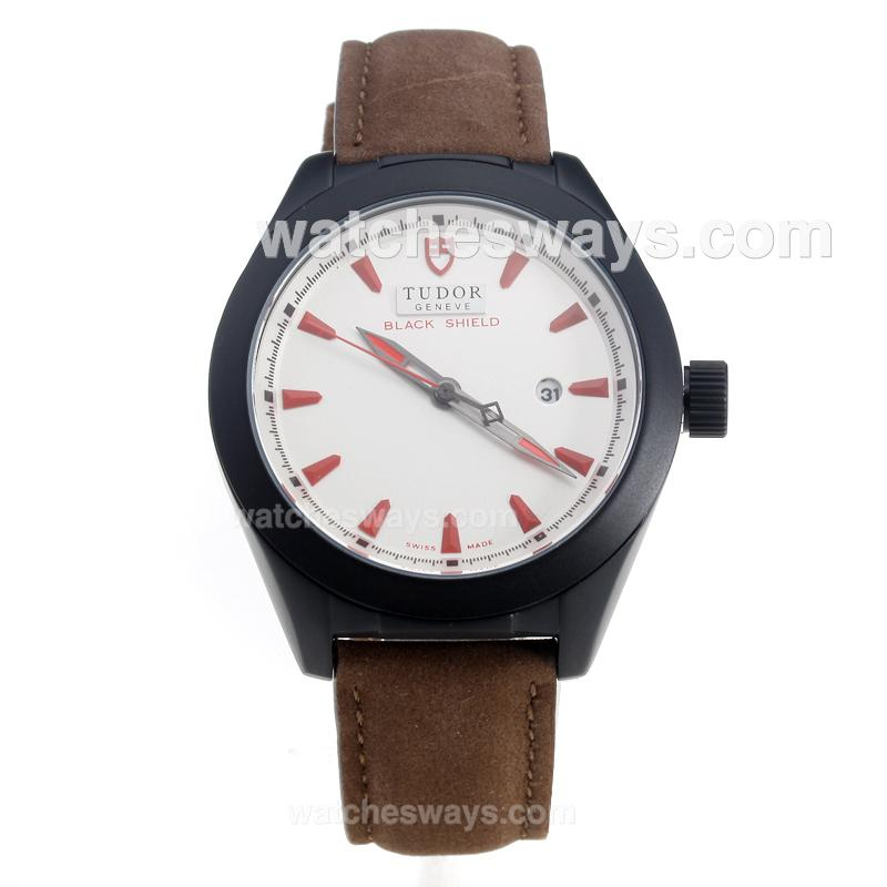 Repliki Tudor Black Shield PVD Case with White Dial-Leather Strap-1 220510