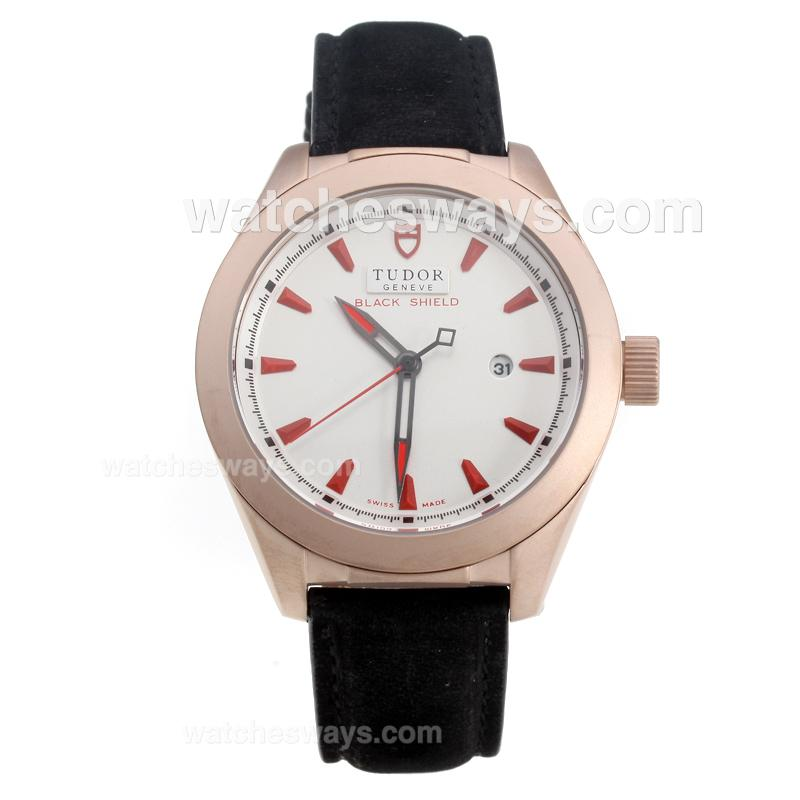Repliki Tudor Black Shield Rose Gold Case with White Dial-Leather Strap 220548