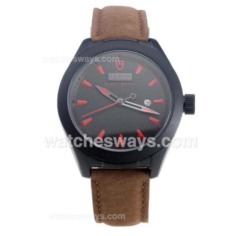 Repliki Tudor Black Shield PVD Case with Black Dial-Leather Strap 220508