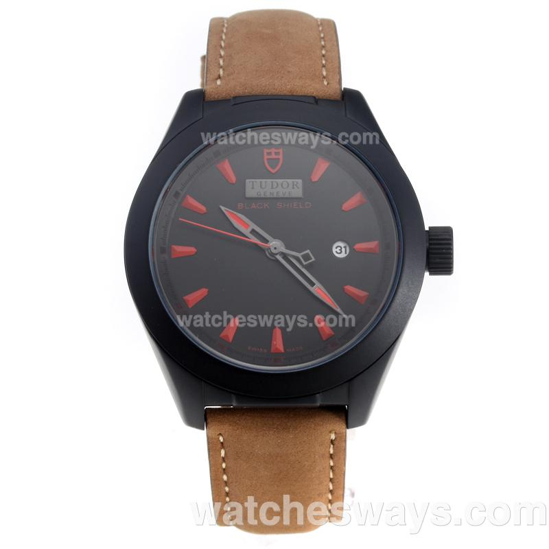 Repliki Tudor Black Shield PVD Case with Black Dial-Leather Strap-2 220504