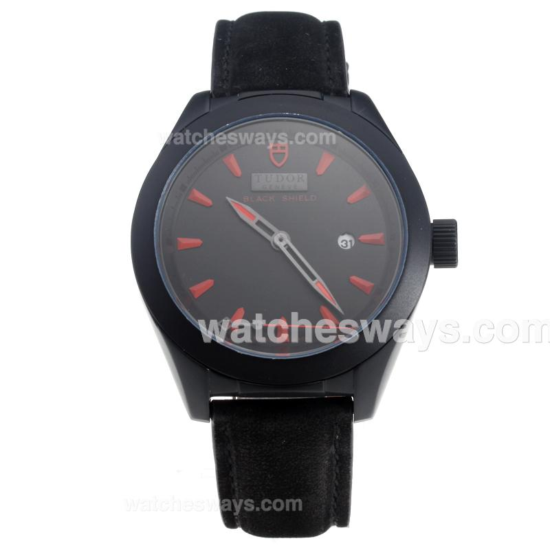 Repliki Tudor Black Shield PVD Case with Black Dial-Leather Strap-4 220496