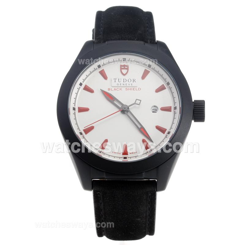 Repliki Tudor Black Shield PVD Case with Black Dial-Leather Strap-6 220492