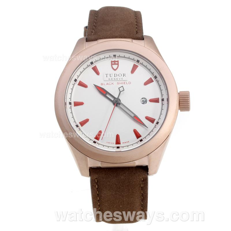 Repliki Tudor Black Shield Rose Gold Case with White Dial-Leather Strap-4 220488