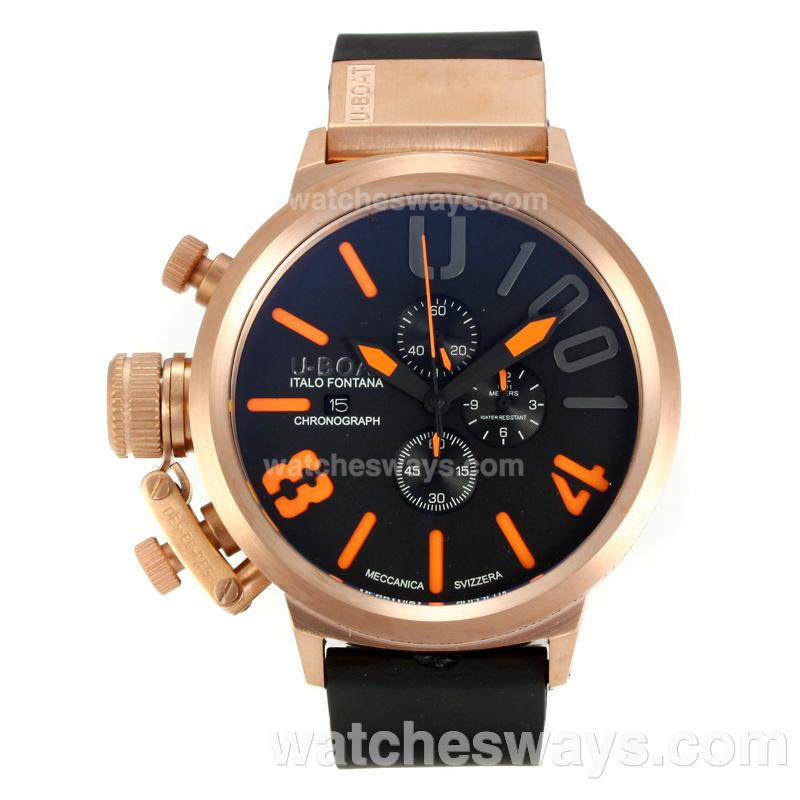Repliki U-Boat Italo Fontana Working Chronograph Rose Gold Case with Black Dial Orange Markers 163176