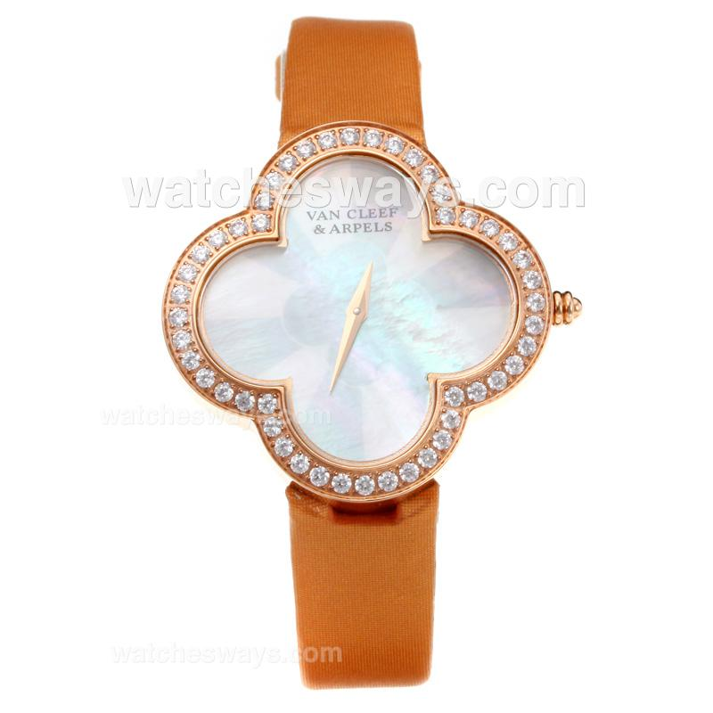 Repliki Van Cleer & Arpels Diamond Rose Gold Case with White Dial-Orange Leather Strap-Sapphire Glass 211134