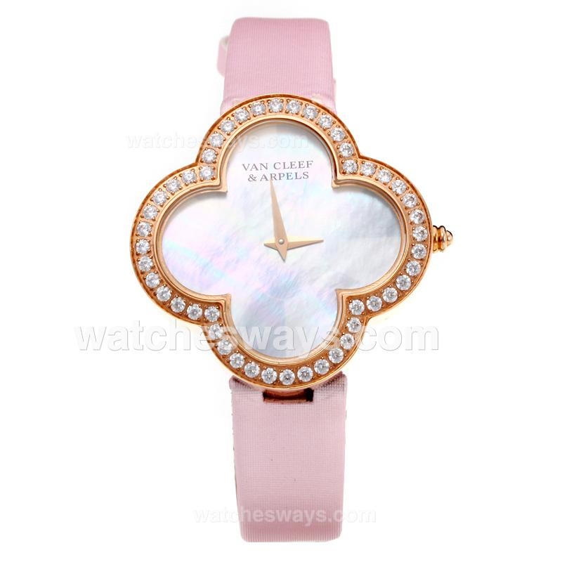 Repliki Van Cleer & Arpels Diamond Rose Gold Case with White Dial-Pink Leather Strap-Sapphire Glass 211132