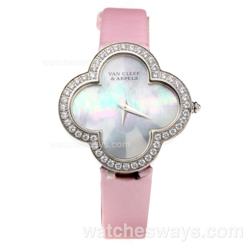 Repliki Van Cleer & Arpels Diamond Case with White Dial-Pink Leather Strap-Sapphire Glass 211130