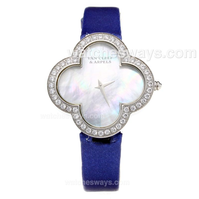 Repliki Van Cleer & Arpels Diamond Case with White Dial-Blue Leather Strap-Sapphire Glass 211128