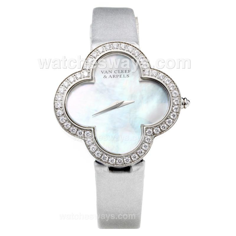 Repliki Van Cleer & Arpels Diamond Case with White Dial-Silver Leather Strap-Sapphire Glass 211126