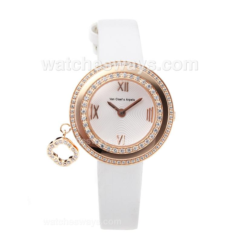 Repliki Van Cleef & Arpels Rose Gold Case Diamond Bezel with White Leather Strap-Sapphire Glass 178742