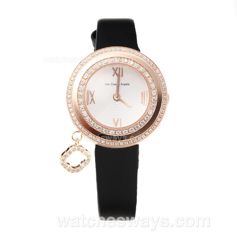 Repliki Van Cleef & Arpel Rose Gold Case Diamond Bezel with Black Leather Strap-Sapphire Glass 178740